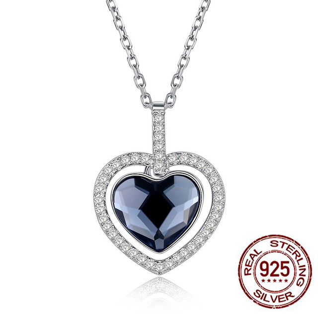 Authentic S925 Sterling Silver LEKANI Crystals From Swarovski Big Sea Love  Heart Necklaces   Pendants Women Jewelry Dropship 7ffecd88c525