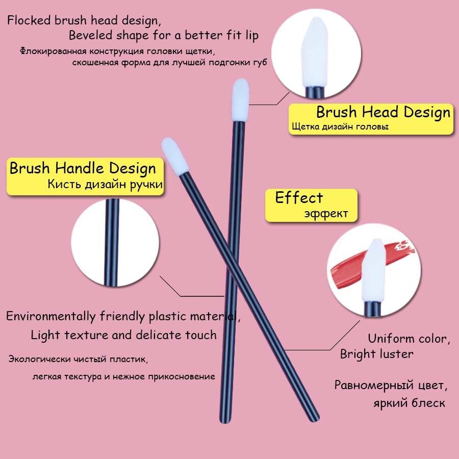 Image 2 - Disposable Lip Brushes 50 pcs Eyelash Cleaning Brush Makeup Removing Tools Lipstick Lip Gloss Wands Applicator Tool Lip Brush-in False Eyelashes from Beauty & Health