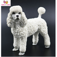 Artificial Resin French White Poodle Dog Figure Car Styling Home Room Decoration Collection Article Christmas Birthday