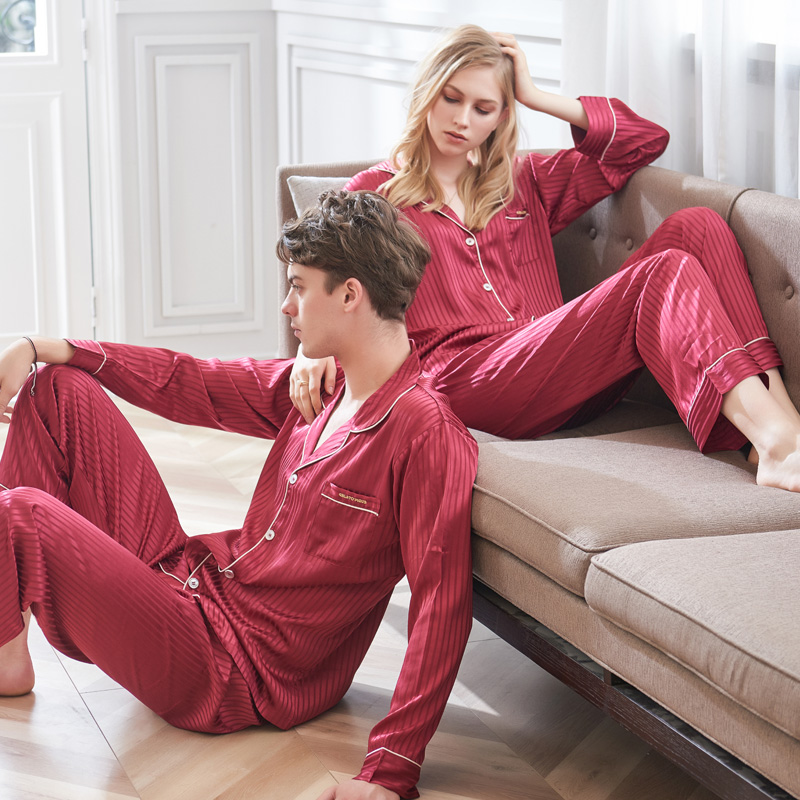 96121bb616 CherLemon Autumn Couple Wedding Pajamas Premium Silky Satin Sleepwear Women  and Mens Long Sleeve Nightwear Striped Pyjama Set