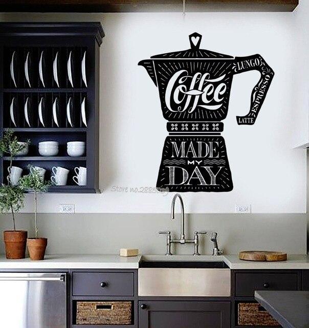 Café cita vinilo etiqueta de la pared tienda de café cocina ...