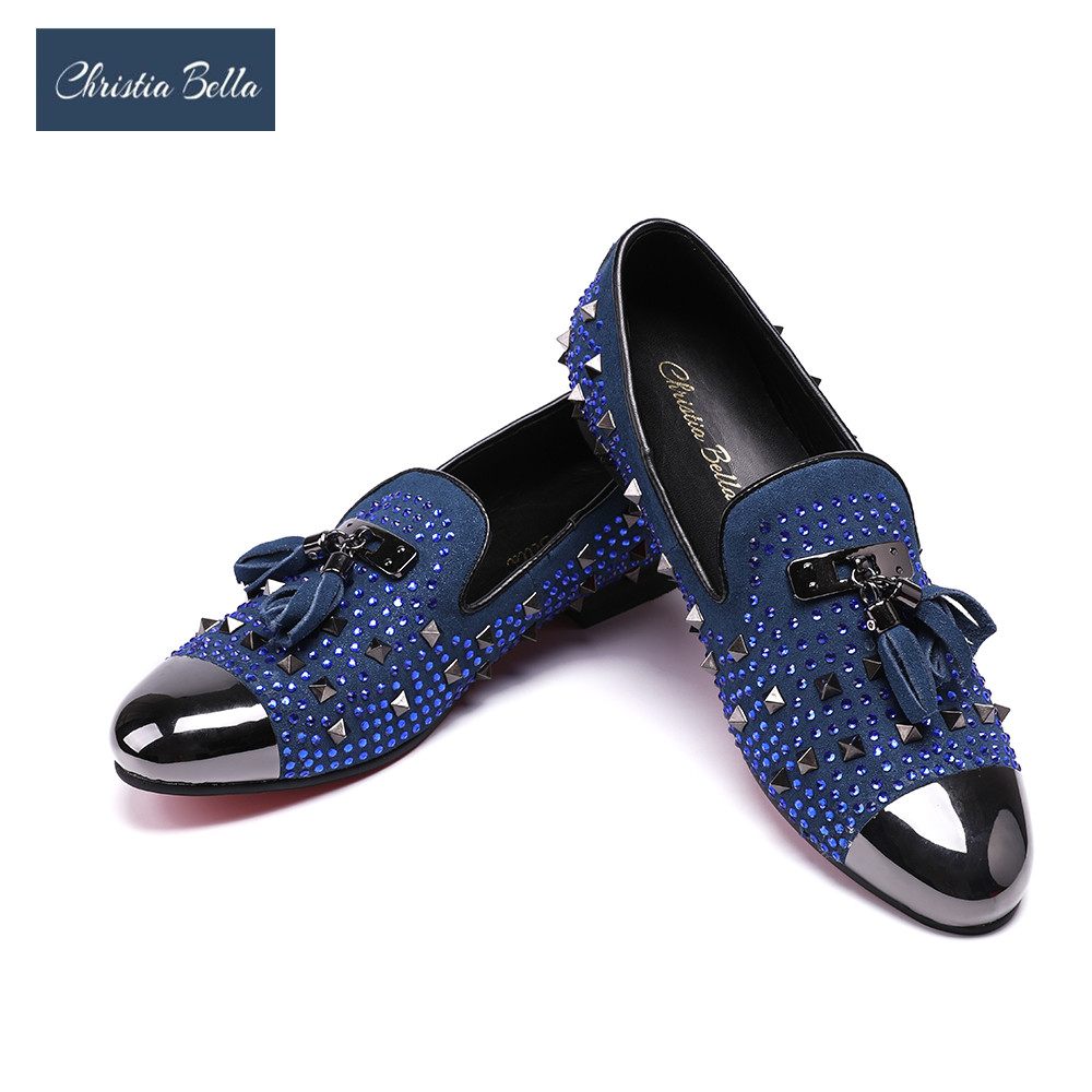 Christia Bella Fashion Rivet Tassel Men Loafers Shoes British Party Wedding Loafers Men Dress Shoes Moccasins Casual Men's Flats christia bella plus size brand embroidery men loafers pointed toe business wedding dress shoes suede leather party formal shoes