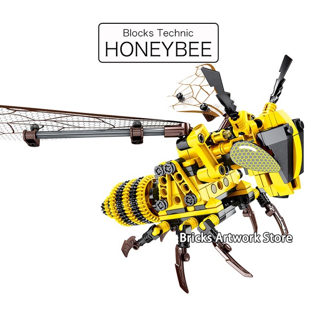 Fit Legoness Technic Parts Technique Honeybee Dragonfly Animals Set Creative MOC Flyable Building Blocks Toys For Children Boys