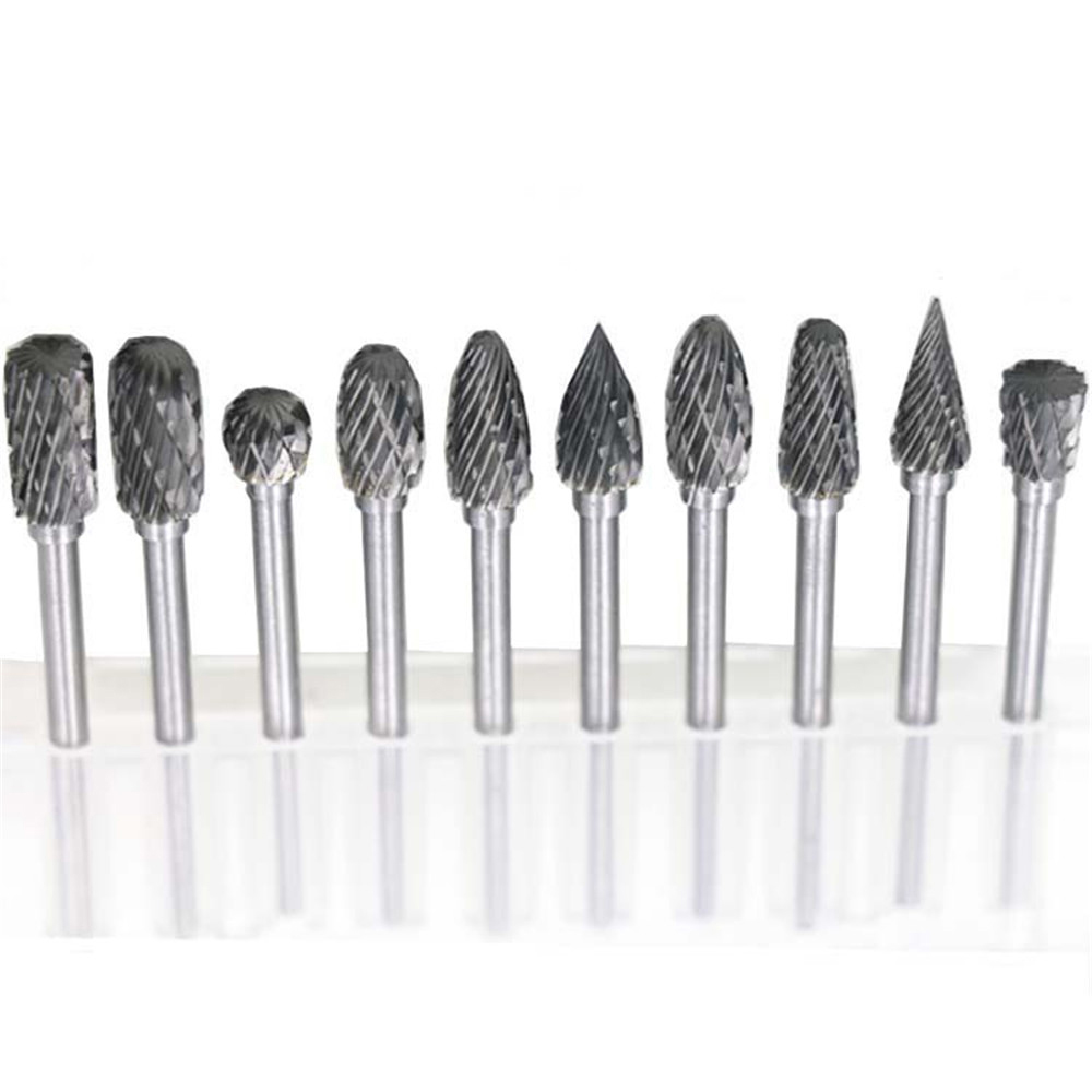 цена на 10pcs Dremel Carbide Burrs Drill Bit Set for Metal Woodworking Carving Tools Rotary Burr Micro Drill Bits  Mini Glass Diamond