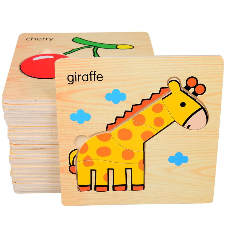 Let's make Baby 3D Puzzle Jigsaw Wooden Toys Cartoon Animals Puzzles Child Educational Toy for Children Montessori Toys Puzzle baby toys new cartoon 3d jigsaw puzzle building toys for children wooden traffic animal design kids toy