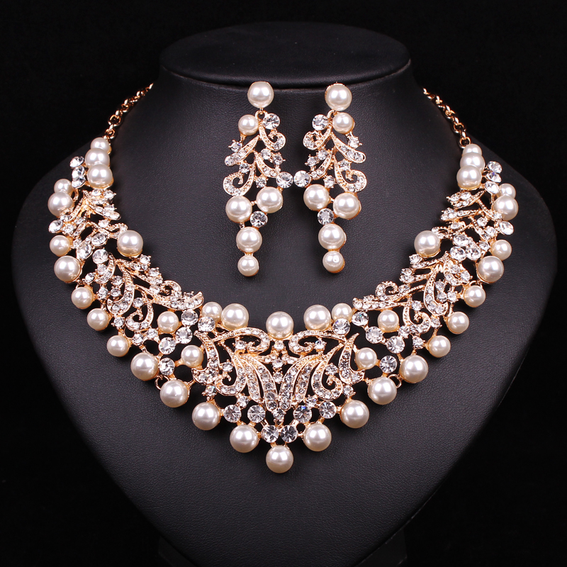 Fashion Pearl Statement Necklace Earrings Bridal Jewelry Sets Bride Gold Plated Jewellery