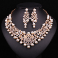 Fashion Pearl Statement Necklace Earrings Bridal Jewelry Sets Bride Gold Plated Jewellery Wedding Prom Dress Accessories Women