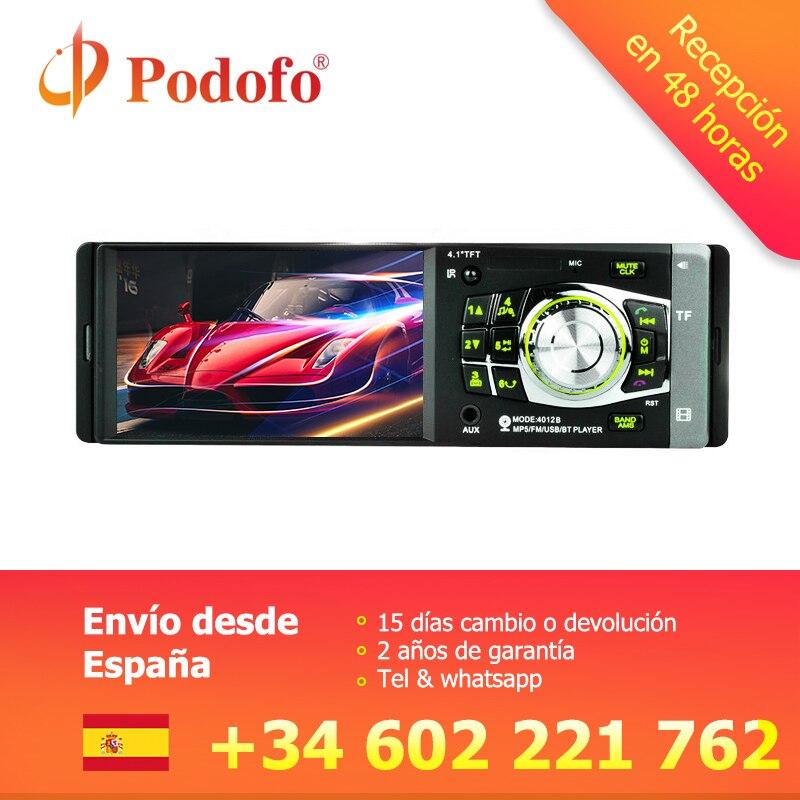 Podofo 4012B 1 autoradio Din 4.1 pouces lecteur de voiture HD MP3 Audio stéréo Radio 12 V Support Bluetooth télécommande caméra de recul