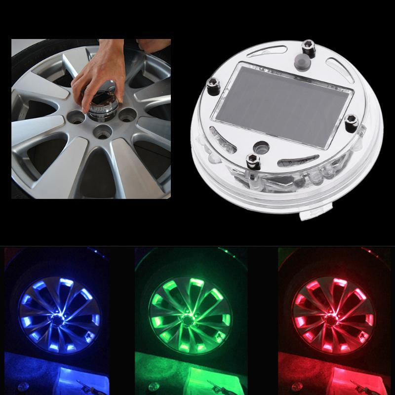 1 Pcs Auto Universal Solar Energy Flash LED Light Car Wheel Tire Accessories Rim Light Wind Fire Wheels Led Lights High Quality
