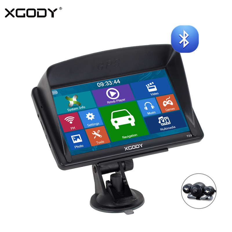 "XGODY 723 7"" Navigator Car Truck GPS Navigation Bluetooth 256M 8GB Sat Nav Rear View Camera 2018 EU 2017 Russia Navitel Free Map(China)"