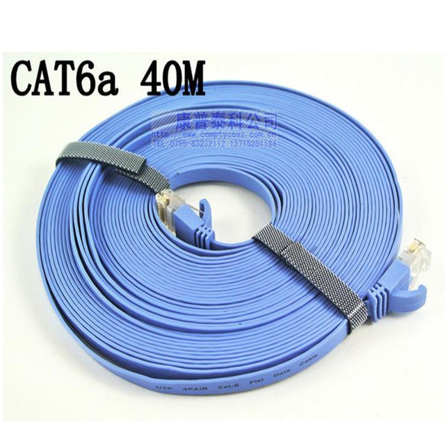 Free Shipping 40M CAT6 CAT 6 Flat UTP Ethernet Network Cable RJ45 Patch LAN Cord