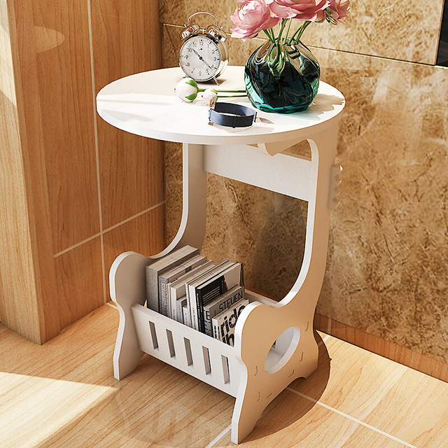 Round Coffee Table Tea Desk Side End Console Magazine Rack
