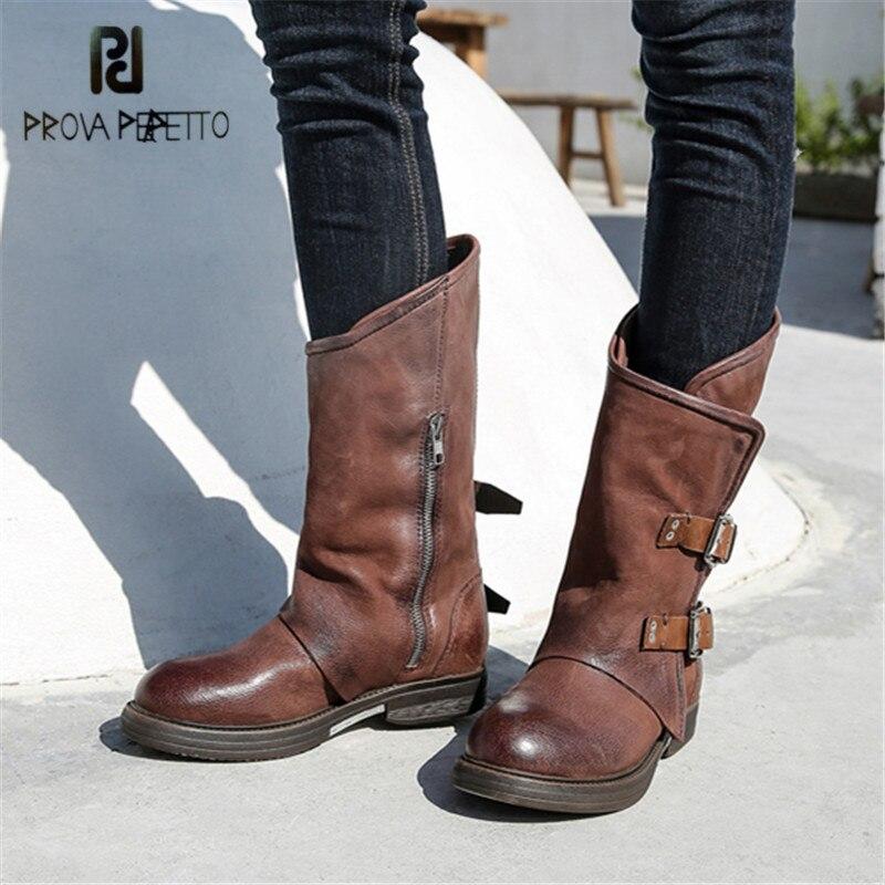 купить Prova Perfetto Handmade Women Autumn Winter Platform Rubber Boots Flat Shoes Woman Retro Genuine Leather Belt Buckle Botas Mujer по цене 7166.94 рублей