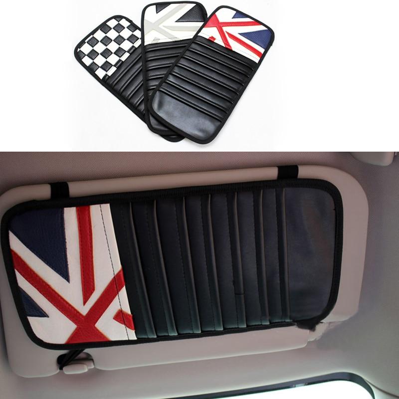 Car Styling PU Sunvisor CD Holder Jack Union Sun shading Decoration for MINI Cooper S Countryman