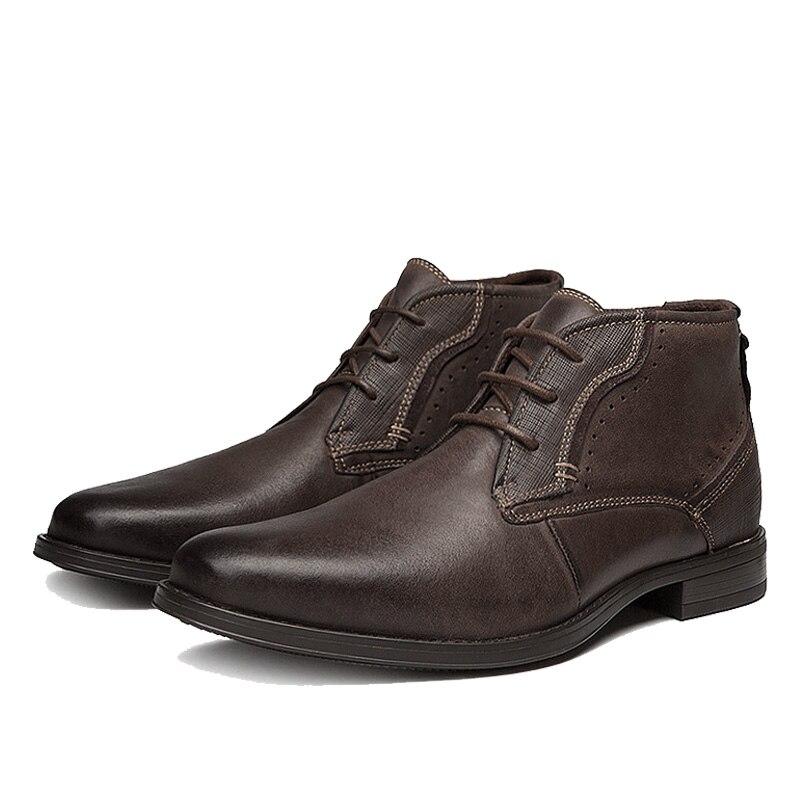 Black Ankle Retro Trabalho Boots Qffaz brown Botas outono Da Tamanho ~ Couro Motocicleta Homens 39 Genuínos 45 De Primavera ax8nTP