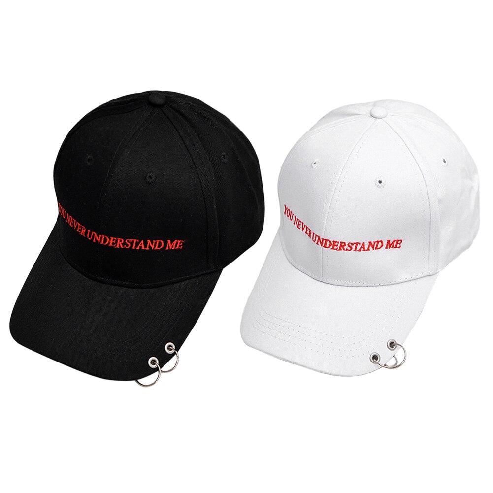 Distant Memories  Safety Pin Hiphop Men Cotton Cap Autumn Ring Black Baseball Cap Outside Curved Hats White Black 2 Color