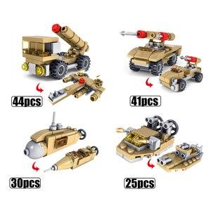 Image 4 - Huiqibao 544個16in1軍事戦車ビルディングブロックスーパー車両飛行機トラック車船軍レンガ教育玩具子供のため