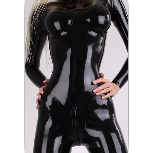 New 100%Latex Rubber Catsuit Women Swimsuit Bodysuit Cool Zipper Black XXS-XXL