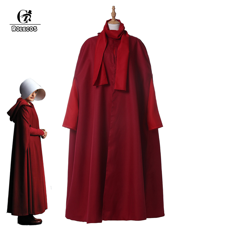 ROLECOS The Handmaid's Tale Cosplay Costumes Offred Cosplay Costume Women Halloween Party Costumes Long Red Robe Full Set