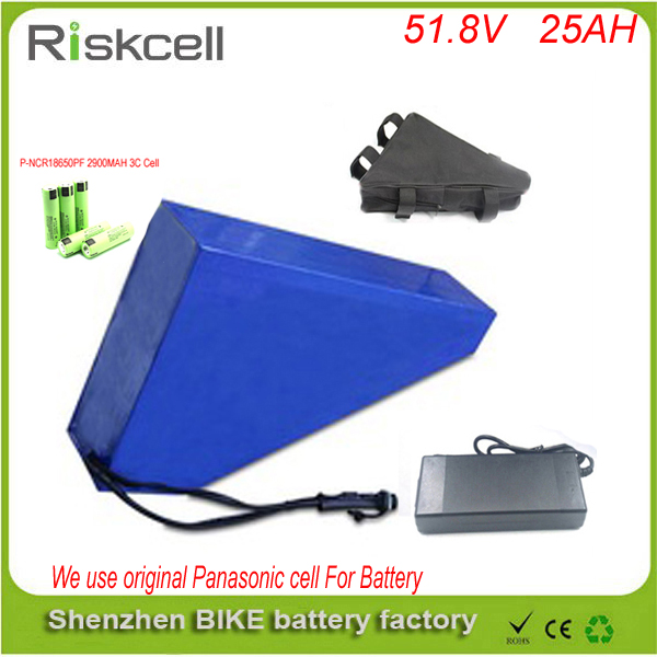 Customize 51.8v 25ah lithium-ion battery triangle style  52V 1500W electric bike battery with bag+BMS For Panasonic cell free customs taxes super power 1000w 48v li ion battery pack with 30a bms 48v 15ah lithium battery pack for panasonic cell
