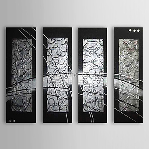 4 piece set 100hand painted thick black silver abstract oil painting wall art