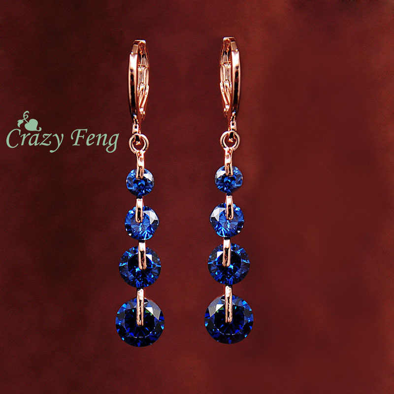 Crazy Feng Free shipping Fashion New Women Gold-color pink CZ Crystal Pierced Dangle Drop Earrings Wedding Jewelry Earring