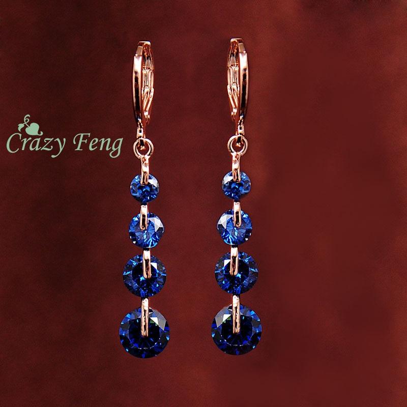 Crazy Feng Бесплатная доставка модные новые женские золотистые розовые CZ хрустальные пирсинг Висячие серьги-капли Свадебное Украшение Серьги