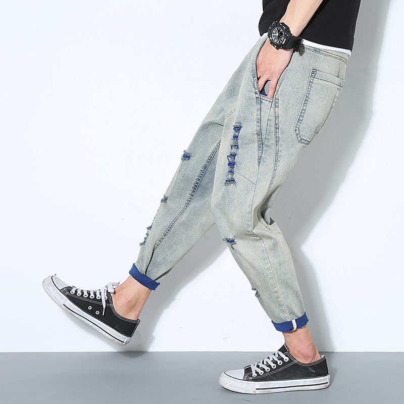 Summer knee hole jeans male loose the trend all-match ankle length trousers elastic thin harem pants