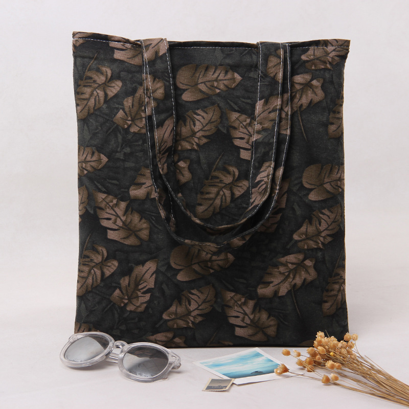 2-Layer Cotton Shopping Bag + Cotton Lining Eco Reusable Tote Leaves L231 NEW