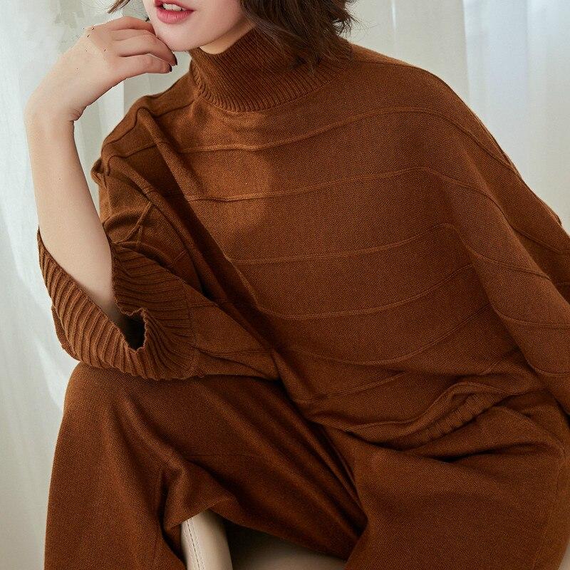 Женский трикотажный свитер из натурального кашемира, свободные штаны с широкими штанинами, новинка зимы 2019