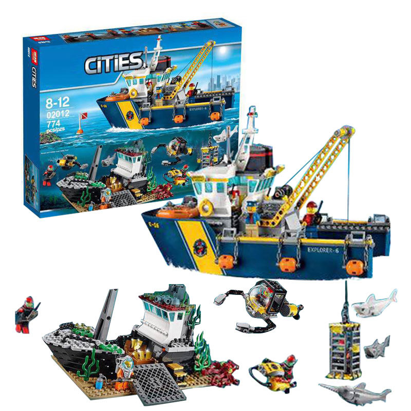 City Explorers Deep Sea Exploration Vessel Building Brick Toys Boys Develop Gift Same as 60095 sermoido 02012 774pcs city series deep sea exploration vessel children educational building blocks bricks toys model gift 60095