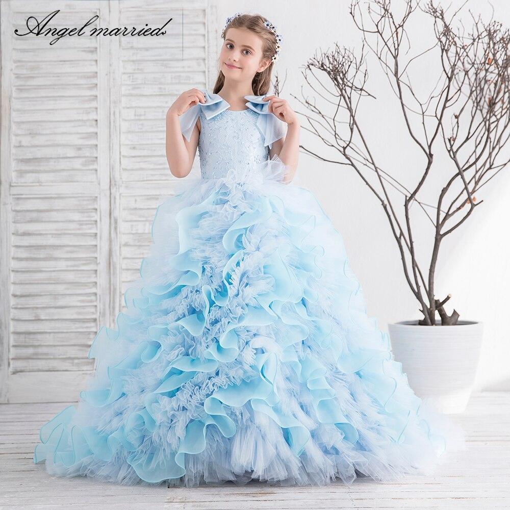 Ange marié fleur fille robe bleu clair dentelle communion robes robes de reconstitution historique pour les filles vestido de daminha 2019 nouveau