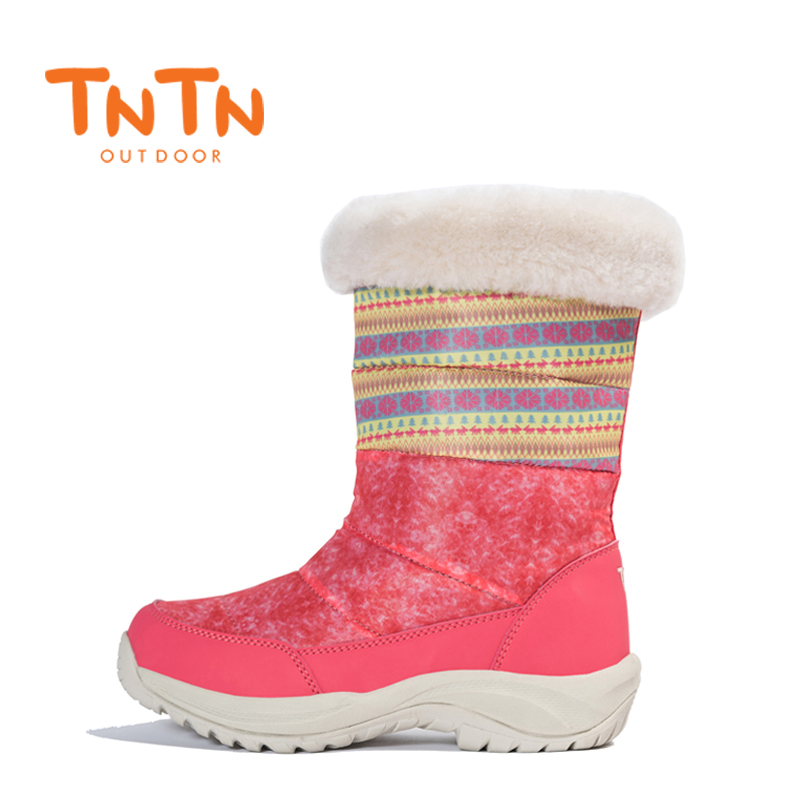 2017 TNTN Outdoor Hiking Boots Winter Snow Fleece Shoes Waterproof Wool Womens Boots Warm Women