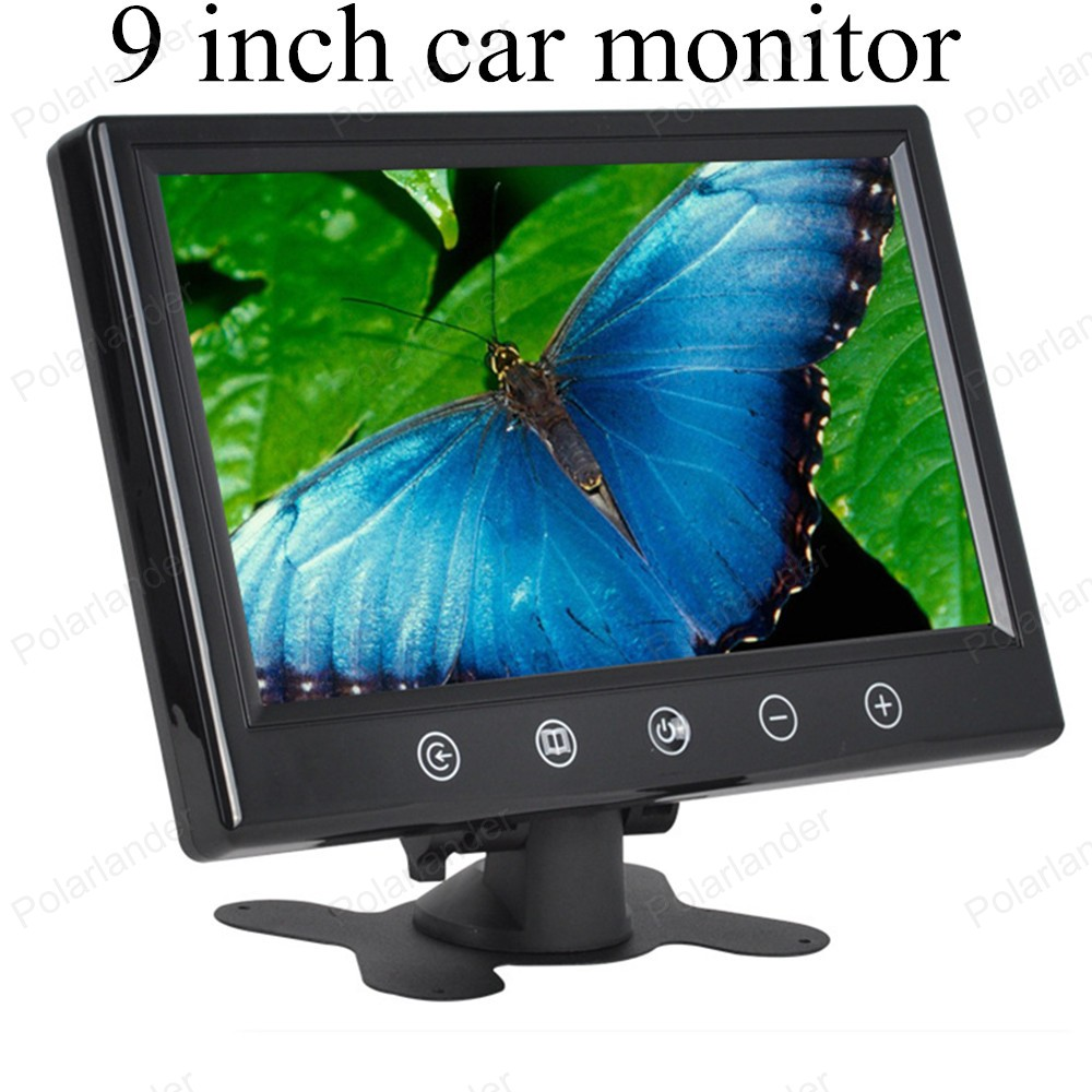 9 inch digital Color TFT LCD with 2 Video input car monitor car reverse rearview parking