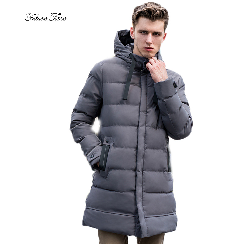 Mens Jacket Winter Fashion Korean Style Long Cotton Clothing Male Solid Pocket Hooded Outerwear Warm Handsome Streetwear WY151