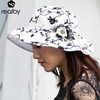 REALBY Summer Beach Hats For Women Elegant Wide Brim Chapeu Depraia Feminino Travel Outdoors Cap Sombreros