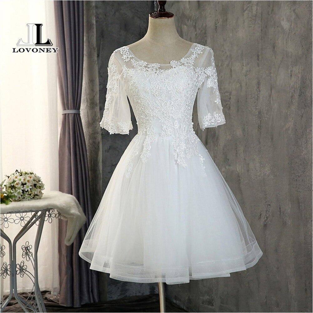 LOVONEY CH616 Elegant Half Sleeves Short Prom Dresses 2019 Lace-Up Adjustable Open Back Formal Dress Evening Party Dresses