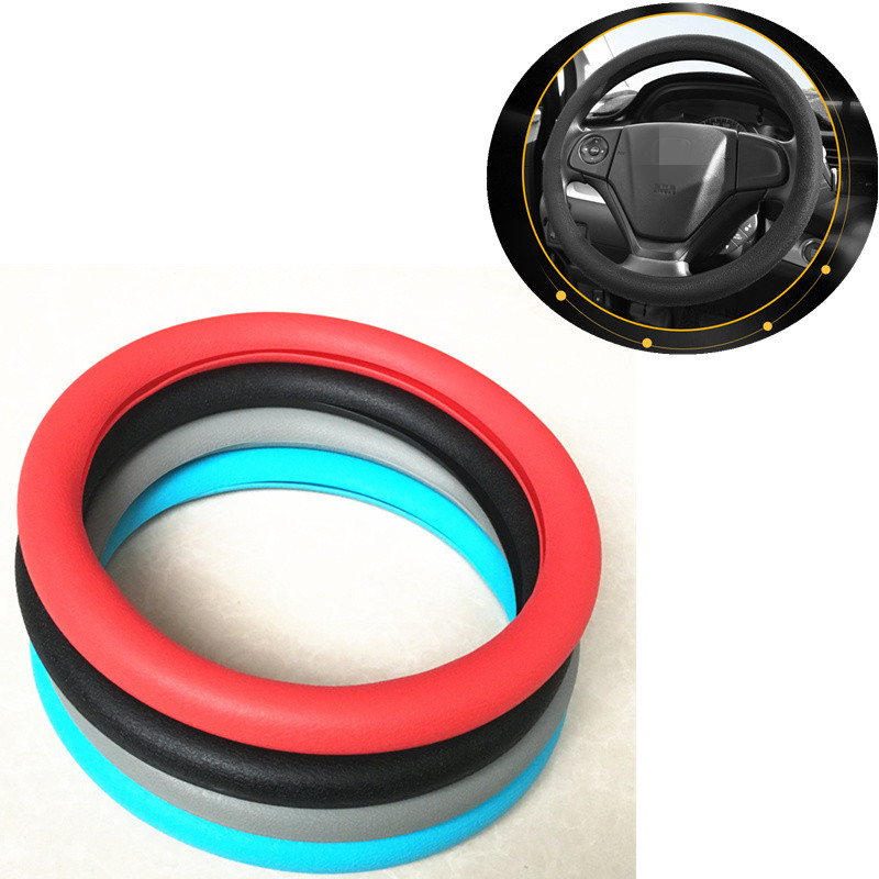 Car styling Hot silicone car <font><b>steering</b></font> <font><b>wheel</b></font> cover For <font><b>Peugeot</b></font> RCZ 206 <font><b>207</b></font> 208 301 307 308 406 407 408 508 2008 3008 4008-6008 image