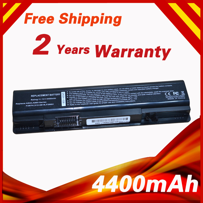 4400mAh Laptop Battery For Dell Vostro 1014 1014n 1015 1015n 1088 1088n  A840 A860 A860n 0F287H 312 0818 F286H F287F R988H-in Laptop Batteries from
