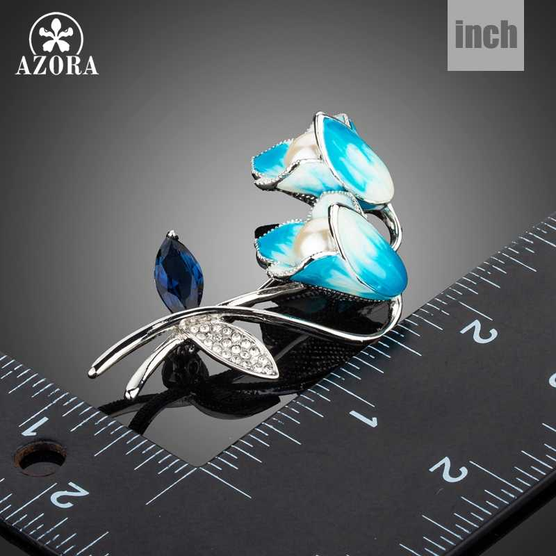 Azora Lukisan Minyak 3D Blue Lily Bunga Cubic Zirconia Crystal Syal Klip Pin Bros TP0041