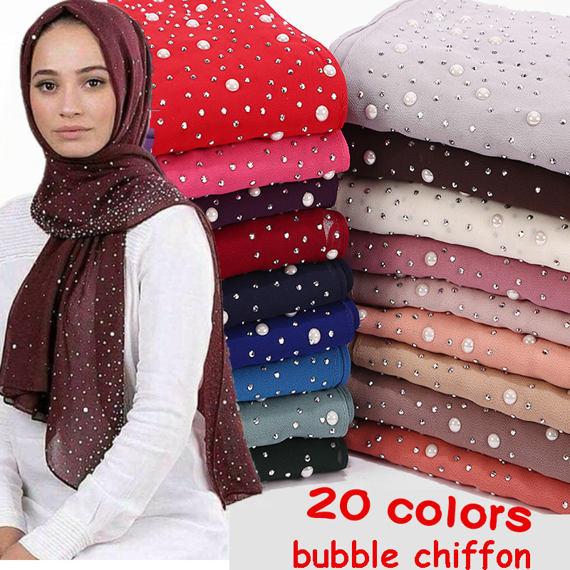 1 Pc New Women's Bubbles Chiffon Scarf With Diamond Studs Pearls Scarf Plain Hijab Shawls Wraps Solid Color Muslim Hijab Scarf