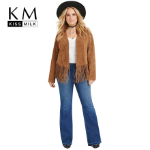 Kissmilk Plus Size New Fashion Women Solid Bohemian Coat Tassel Basic Big Large Size Coat 3XL 4XL 5XL 6XL