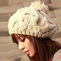 Бесплатная доставка, 1 шт., 2016 Новая Корейская версия шапки с тыквой, вязаные вручную шапки, осенне-зимняя шерстяная шапка, теплая шапка, многоцветный - фото
