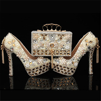 Pumps Women Shoes and Bags to Matching Wedding Pearl Crystal Purse Platform Bridal Shoes High Heels Genuine Leather Big Size