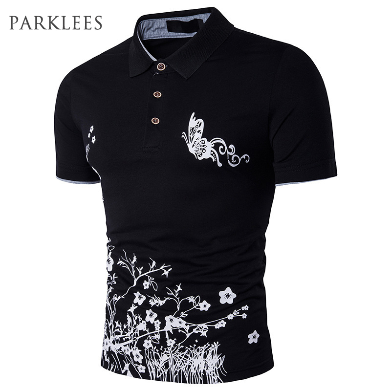 Butterfly Printed Men   Polo   Shirt 2017 Summer Fashion Short Sleeve   Polo   Homme Casual Slim Fit Mens Hip Hop Cotton   Polo   Shirts XXL