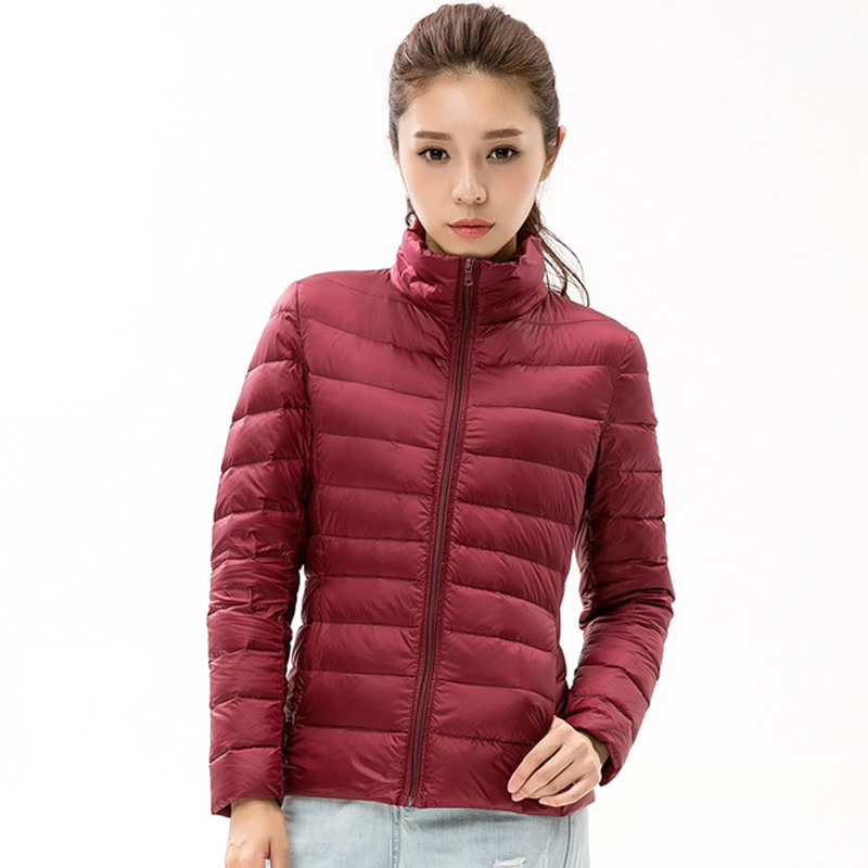 2018 Top Quality Ladies Short Autumn Overcoat Women Ultra Light 90% White Duck   Down     Coat   Stand Collar Plus Size   Down   Jackets