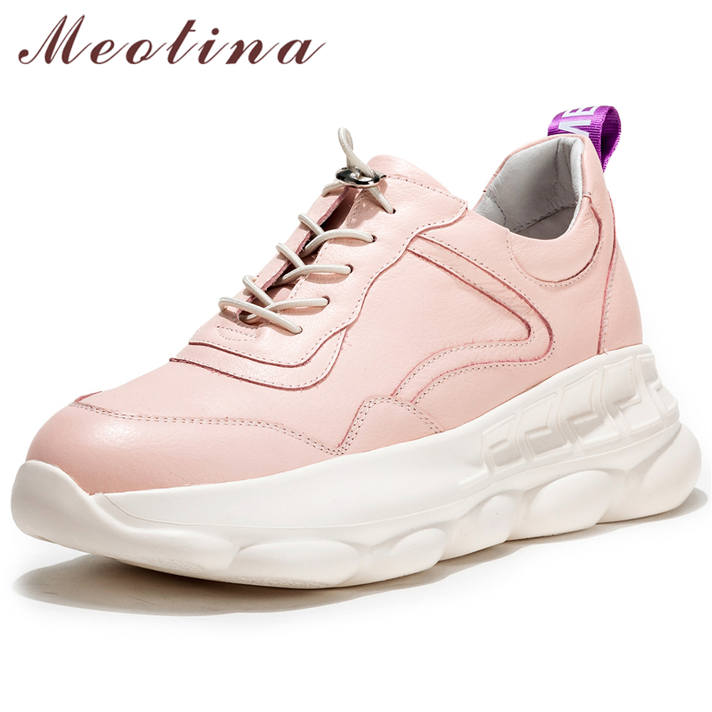Meotina Spring Flats Sneakers Women Shoes Natural Genuine Leather Flat Platform Shoes Cow Leather Lace Up