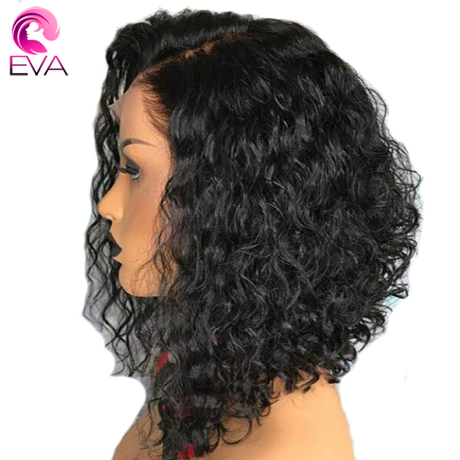 Curly Wig Remy-Hair Black-Women 360-Lace Brazilian Hair-Short Eva Bob with Glueless