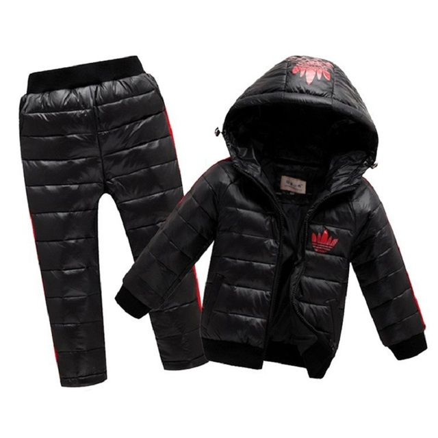 Children's Winter Jackets Baby Boys Girls Clothes Kids Clothing Sets Hooded Down Jacket + Trousers Waterproof Snow Warm toddler