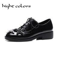 2017 الأزياء نجمة أنيقة الراين تصليحه أحذية السيدات مع سحر أوكسفورد أحذية الخريف الشقق chaussure فام us 10.5 الأسود